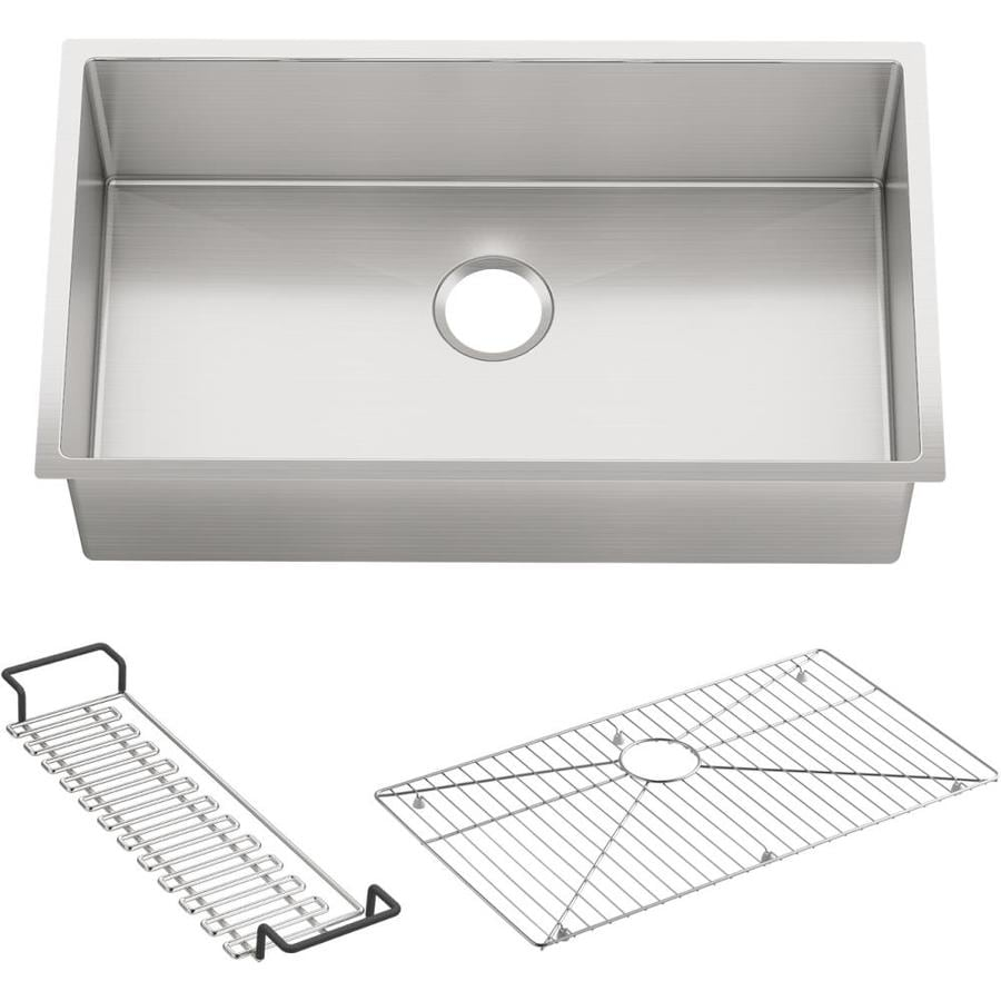 KOHLER Strive 18.25-in x 32-in Stainless Steel Single-Basin-Basin Stainless Steel Undermount (Customizable)-Hole Residential Kitchen Sink