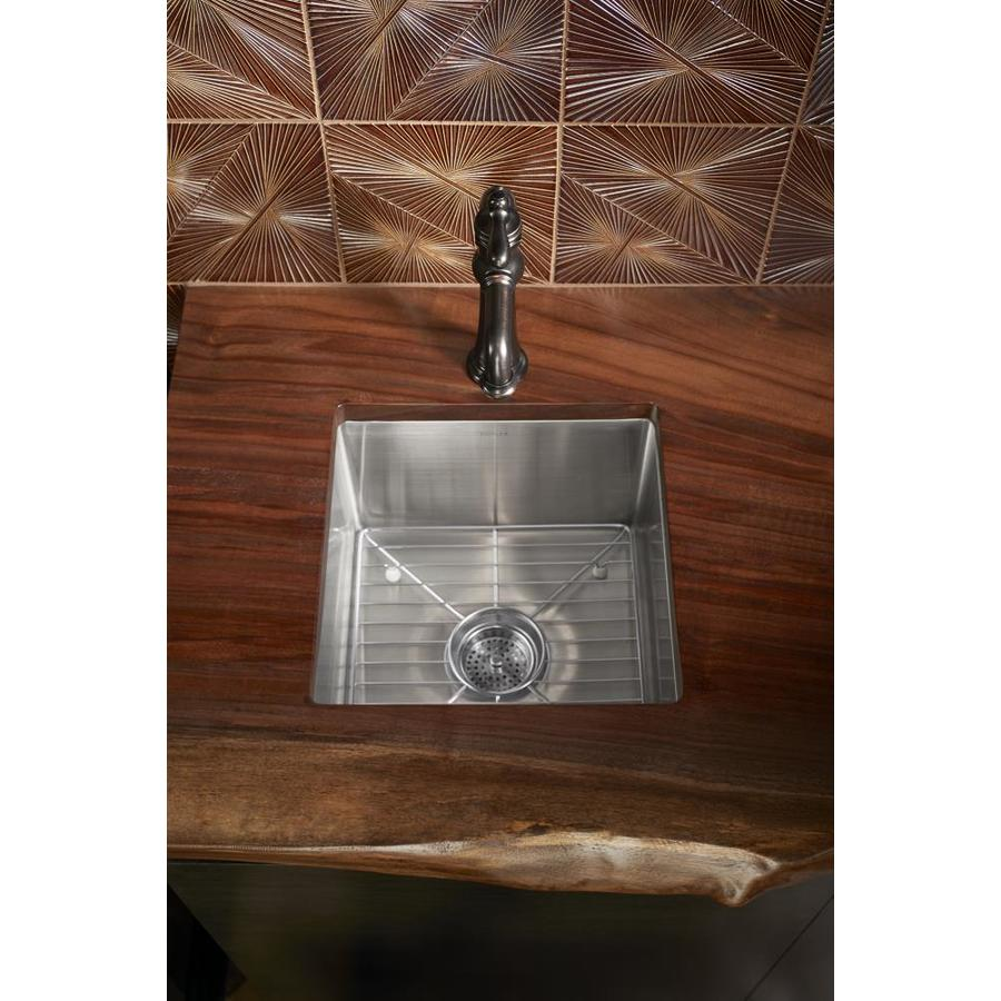 KOHLER Strive 24.31-in x 29.75-in Stainless Steel 1 Stainless Steel Drop-in (Customizable)-Hole Residential Kitchen Sink
