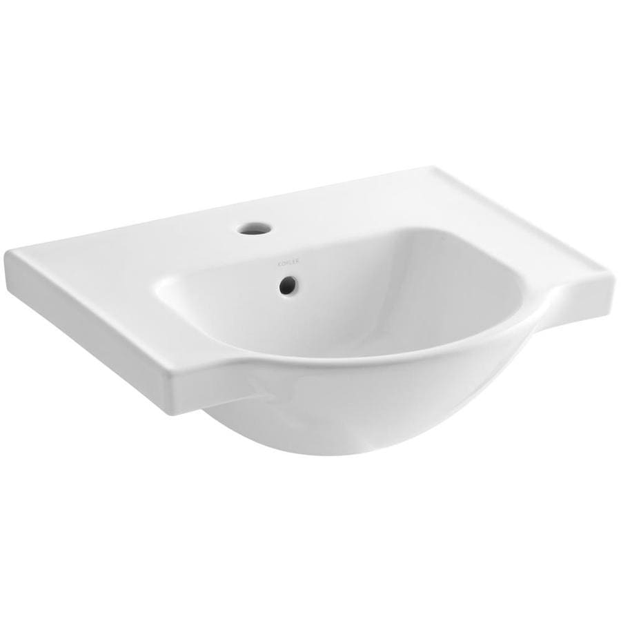 KOHLER Veer 18.25-in L x 21-in W White Vitreous China Rectangular Pedestal Sink Top