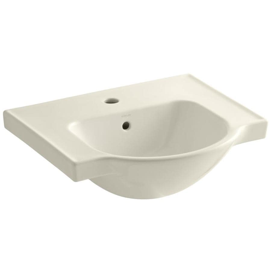 KOHLER Veer 18.25-in L x 21-in W Almond Vitreous China Rectangular Pedestal Sink Top