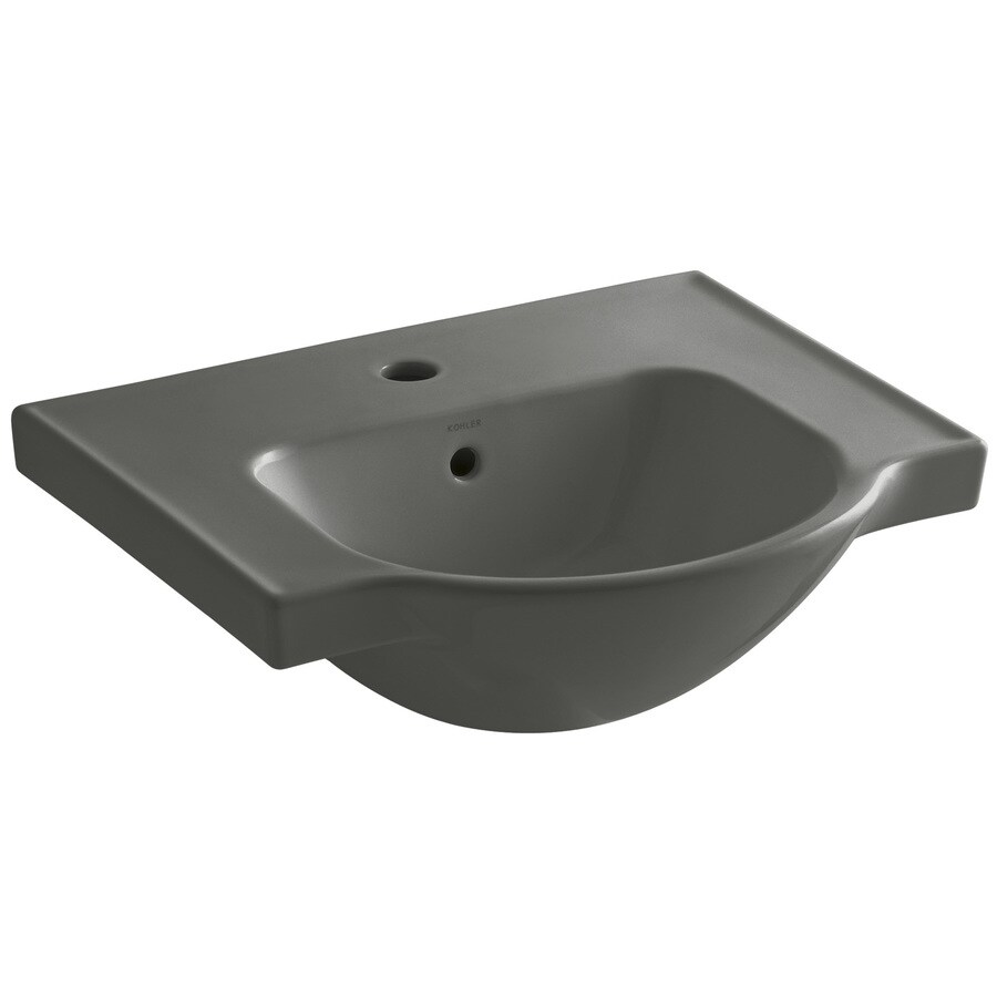 KOHLER Veer 18.25-in L x 21-in W Thunder Grey Vitreous China Rectangular Pedestal Sink Top
