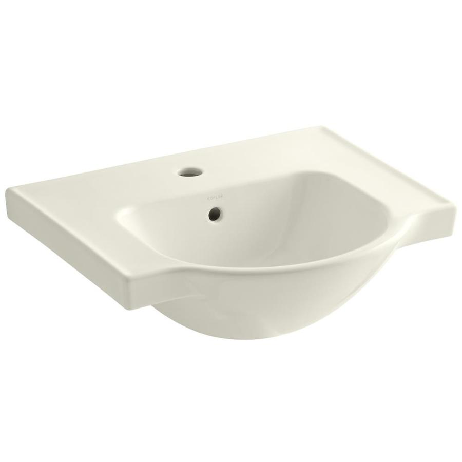KOHLER Veer 18.25-in L x 21-in W Biscuit Vitreous China Rectangular Pedestal Sink Top