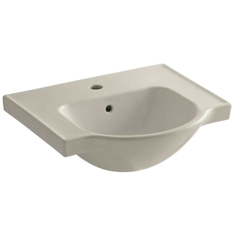 KOHLER Veer 18.25-in L x 21-in W Sandbar Vitreous China Rectangular Pedestal Sink Top