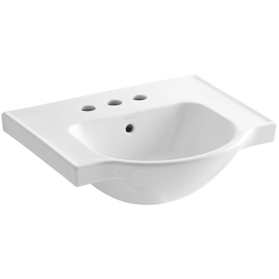 KOHLER Veer 18.25-in L x 21-in W White Vitreous China Rectangular Pedestal Sink Top