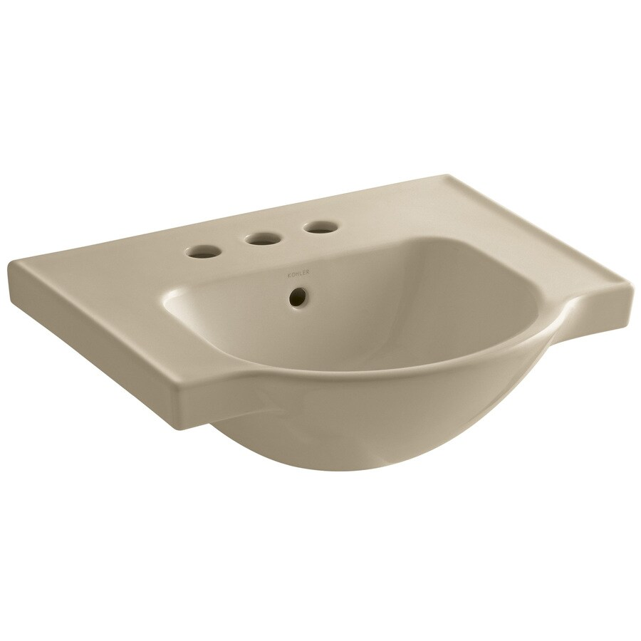 KOHLER Veer 18.25-in L x 21-in W Mexican Sand Vitreous China Rectangular Pedestal Sink Top