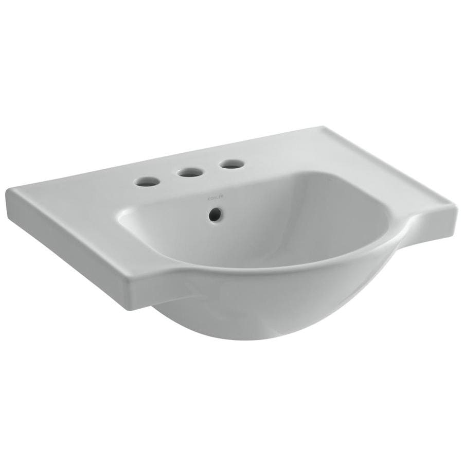 KOHLER Veer 18.25-in L x 21-in W Ice Grey Vitreous China Rectangular Pedestal Sink Top