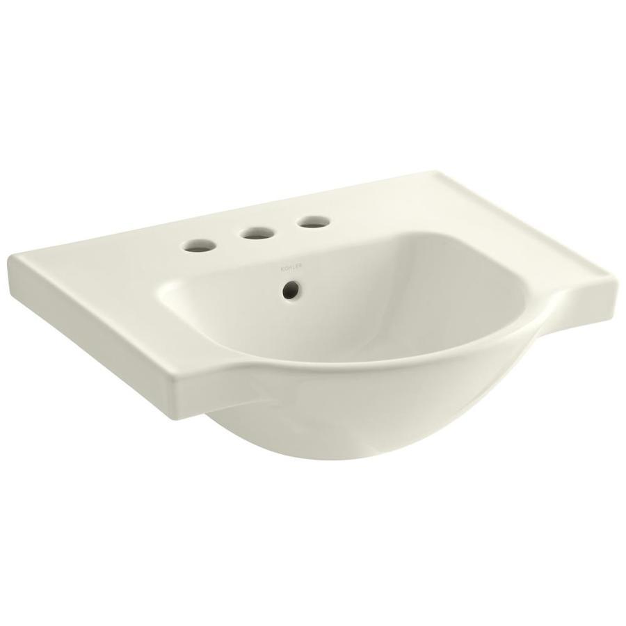 KOHLER Veer 18.25-in L x 21-in W Biscuit Vitreous China Rectangular Pedestal Sink Top