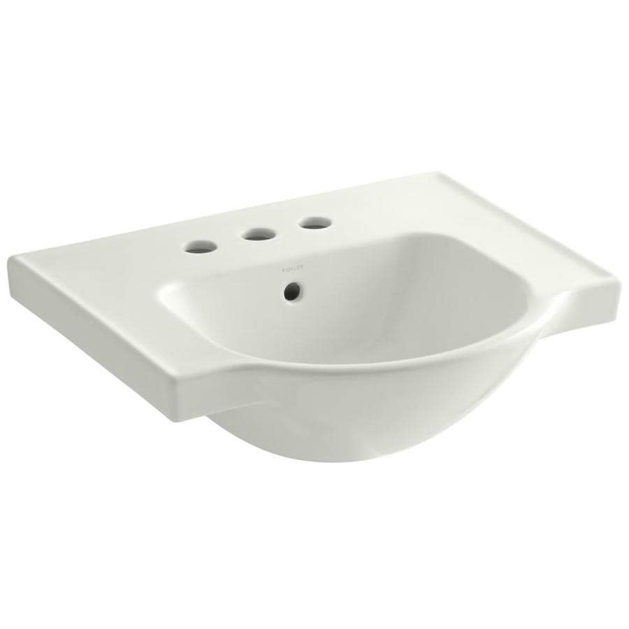 KOHLER Veer 18.25-in L x 21-in W Dune Vitreous China Rectangular Pedestal Sink Top