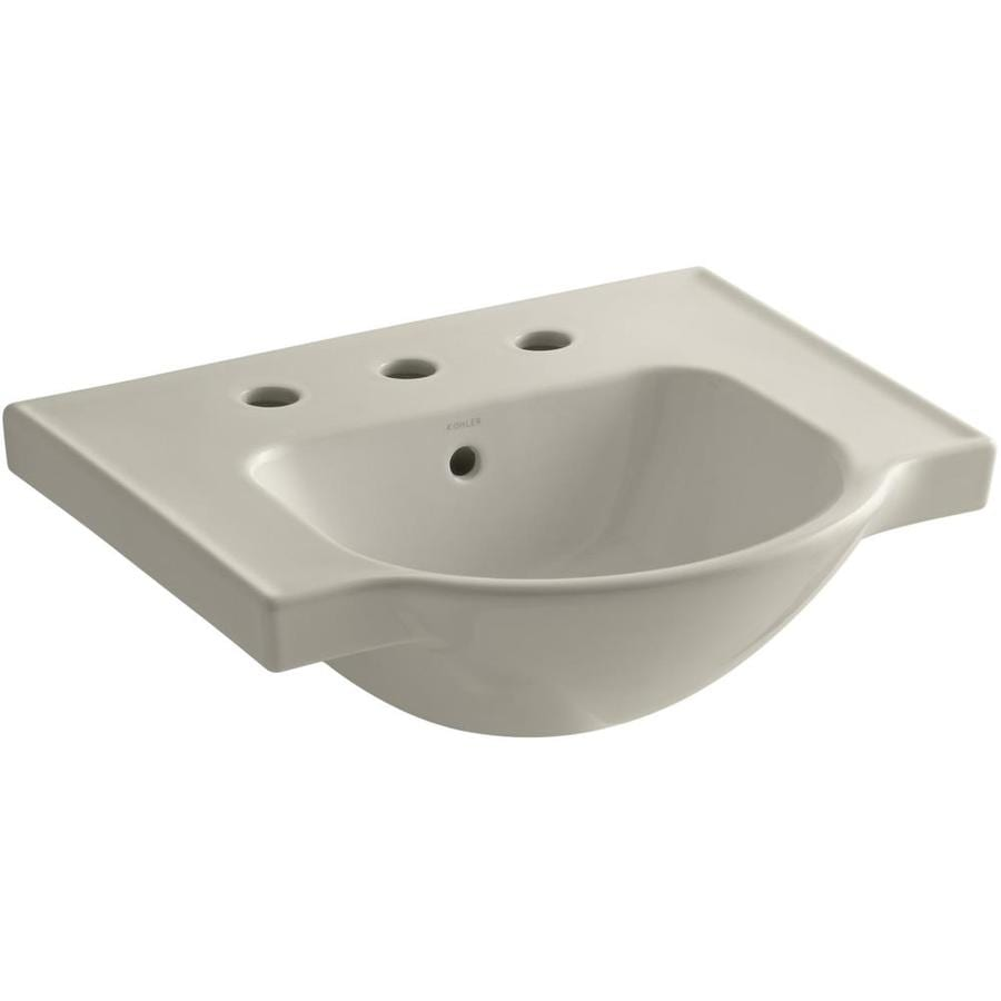 KOHLER Veer 18.25-in L x 21-in W Sandbar Vitreous China Rectangular Pedestal Sink Top