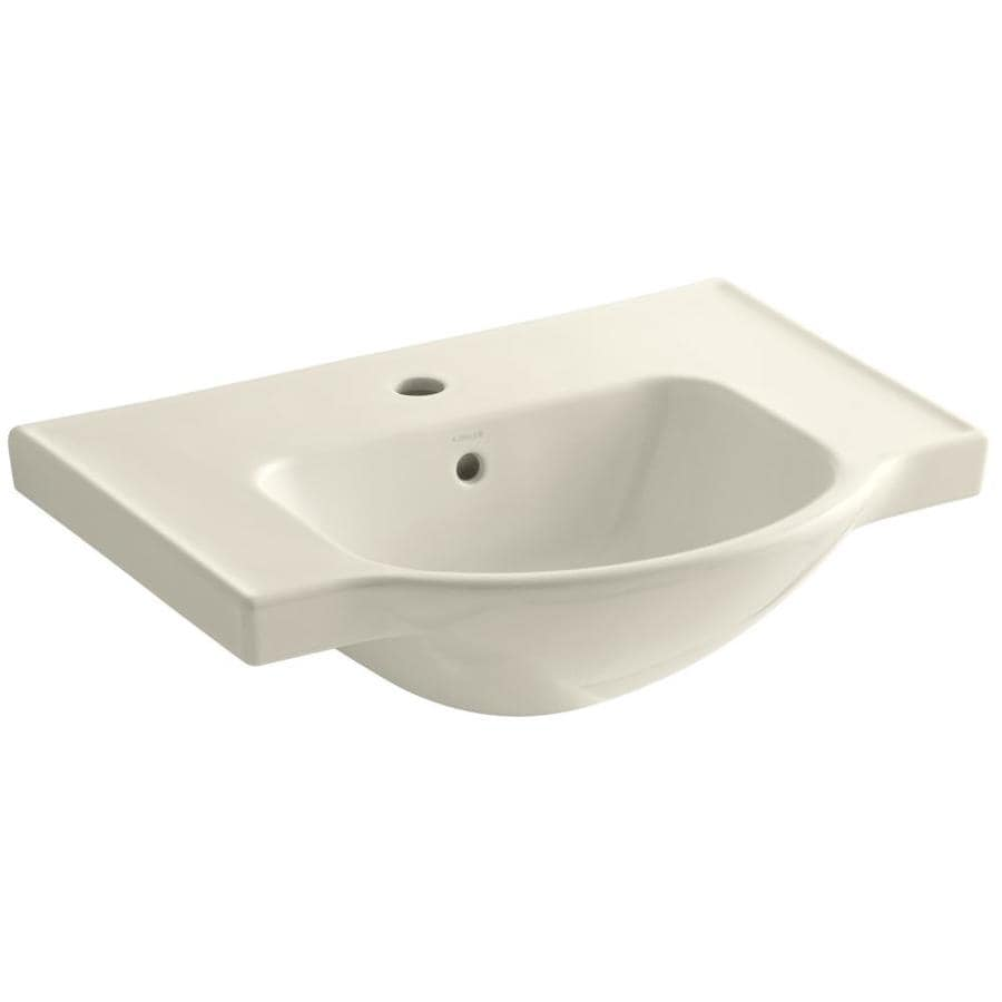 KOHLER Veer 18.25-in L x 24-in W Almond Vitreous China Rectangular Pedestal Sink Top