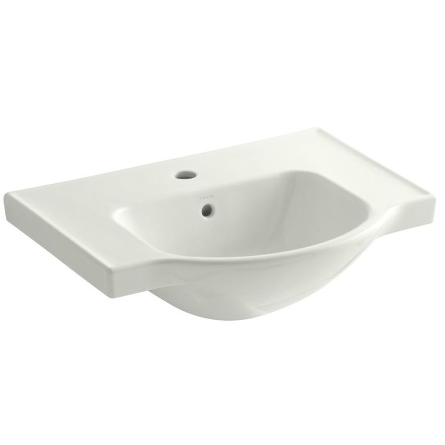 KOHLER Veer 18.25-in L x 24-in W Dune Vitreous China Rectangular Pedestal Sink Top