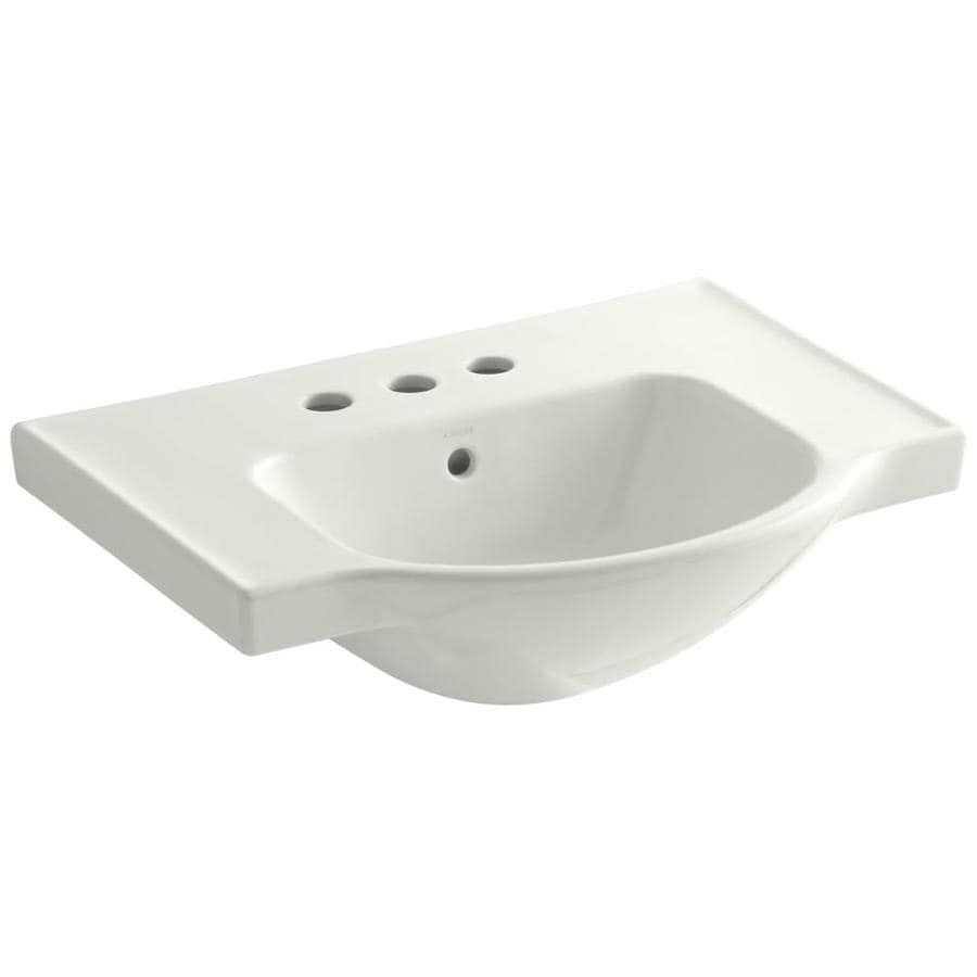 KOHLER Veer 18.25-in L x 24-in W Dune Vitreous China Rectangular Pedestal Sink Top
