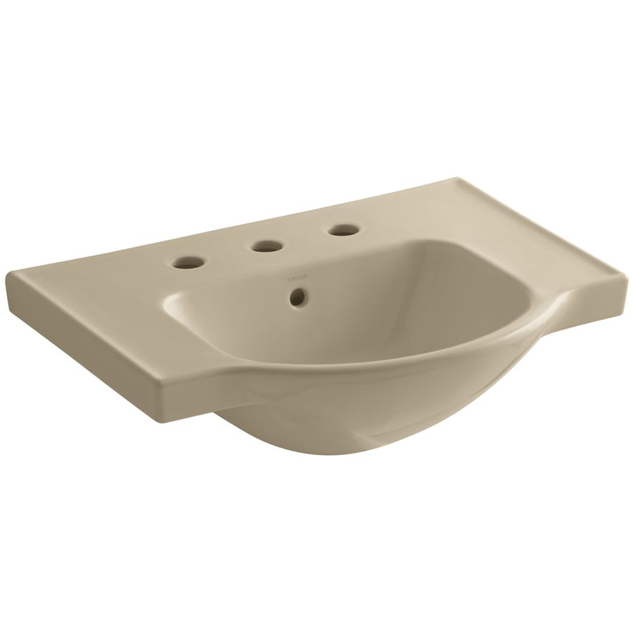 KOHLER Veer 18.25-in L x 24-in W Mexican Sand Vitreous China Rectangular Pedestal Sink Top
