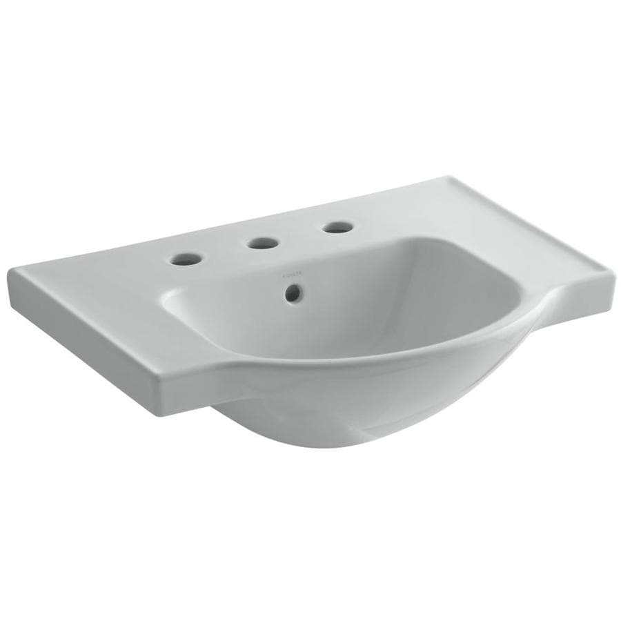 KOHLER Veer 18.25-in L x 24-in W Ice Grey Vitreous China Rectangular Pedestal Sink Top