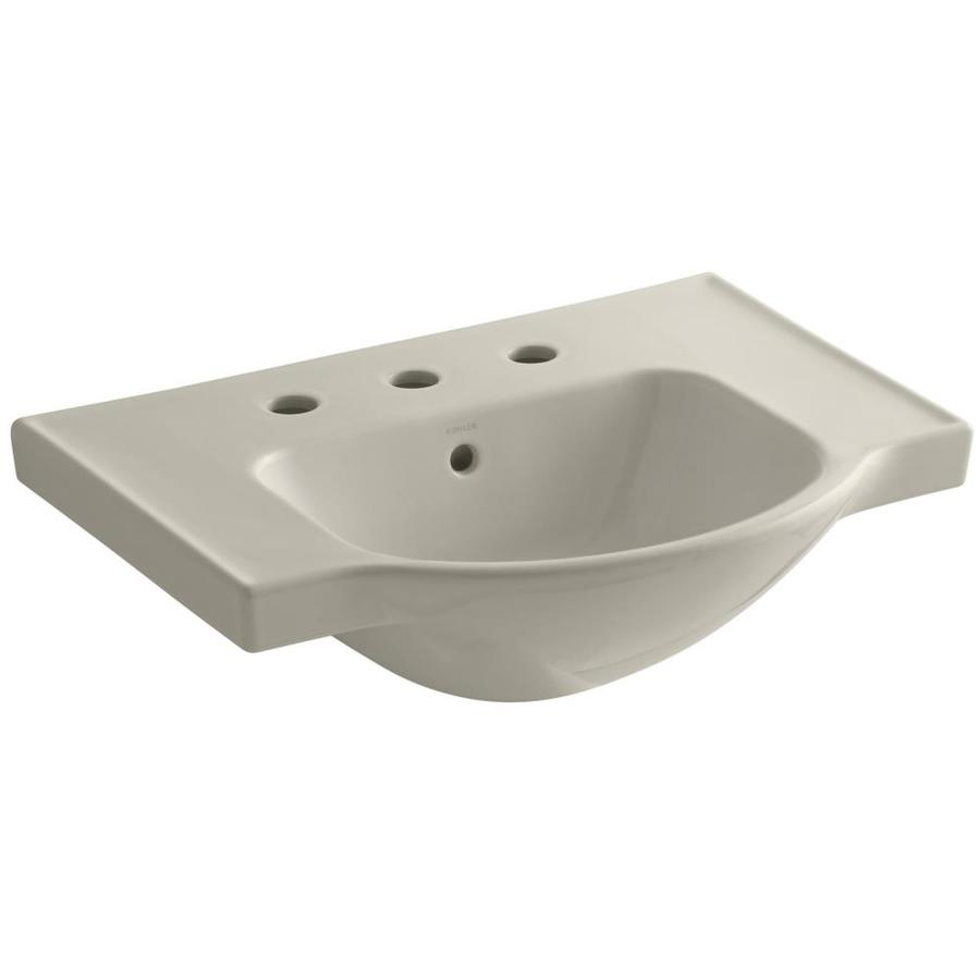KOHLER Veer 18.25-in L x 24-in W Sandbar Vitreous China Rectangular Pedestal Sink Top