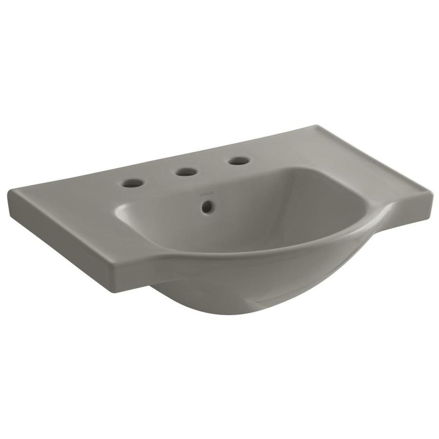 KOHLER Veer 18.25-in L x 24-in W Cashmere Vitreous China Rectangular Pedestal Sink Top