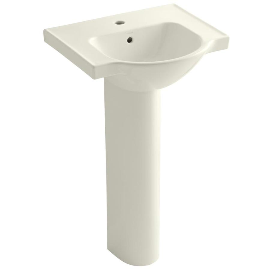KOHLER Veer 35.5-in H Biscuit Vitreous China Pedestal Sink