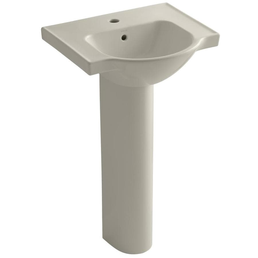 KOHLER Veer 35.5-in H Sandbar Vitreous China Pedestal Sink