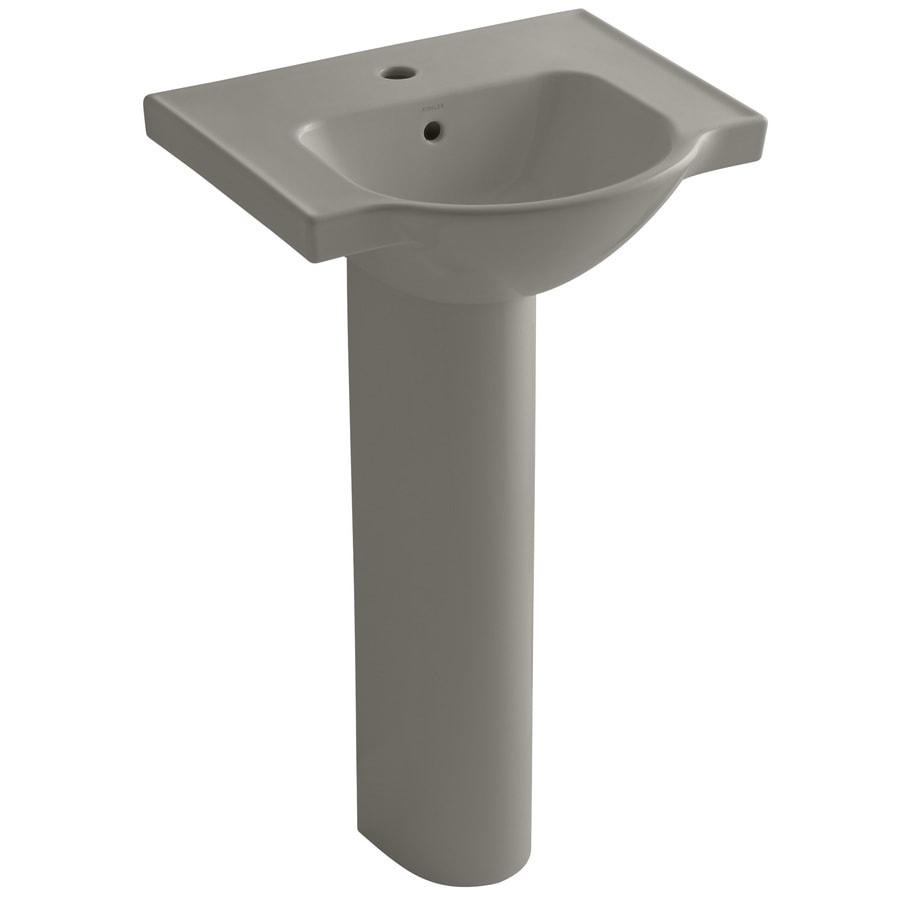KOHLER Veer 35.5-in H Cashmere Vitreous China Pedestal Sink