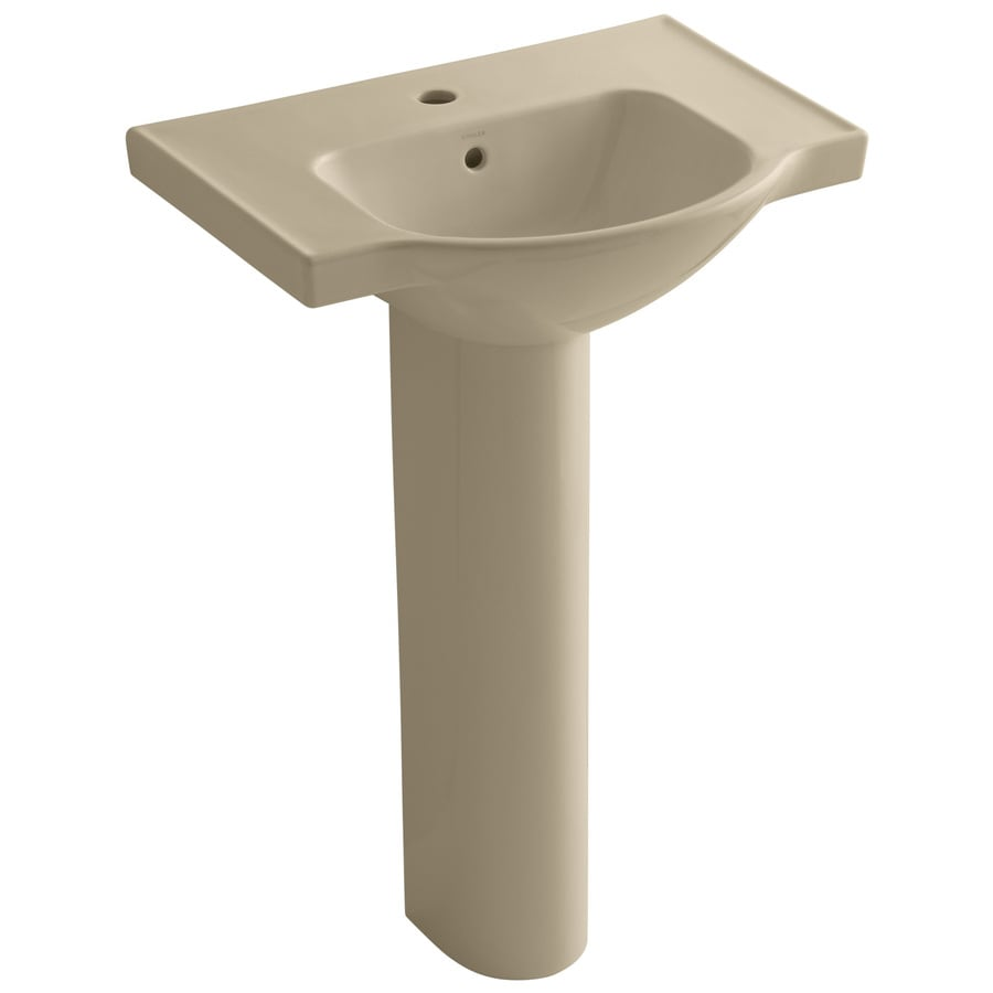 KOHLER Veer 35.5-in H Mexican Sand Vitreous China Pedestal Sink