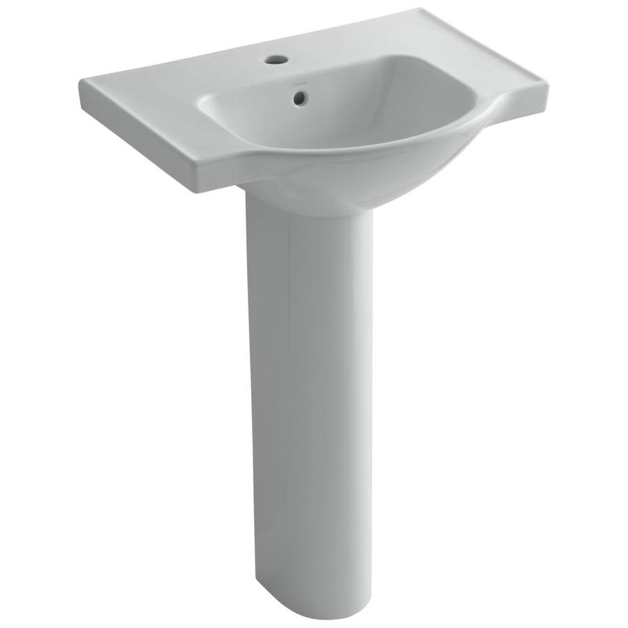 KOHLER Veer 35.5-in H Ice Grey Vitreous China Pedestal Sink