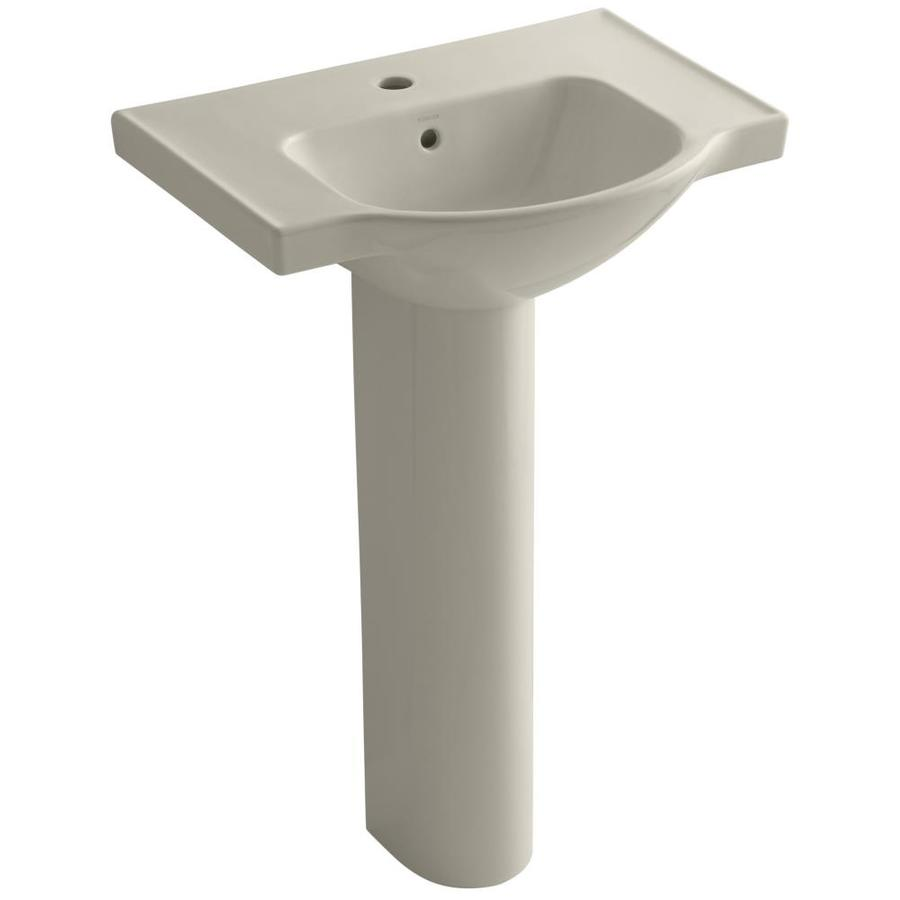 KOHLER Veer 35.5-in H Sandbar Vitreous China Pedestal Sink