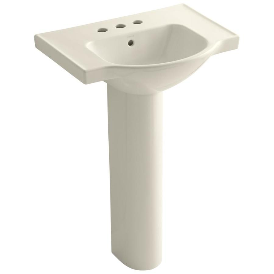 KOHLER Veer 35.5-in H Almond Vitreous China Pedestal Sink