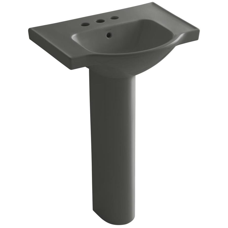 KOHLER Veer 35.5-in H Thunder Grey Vitreous China Pedestal Sink