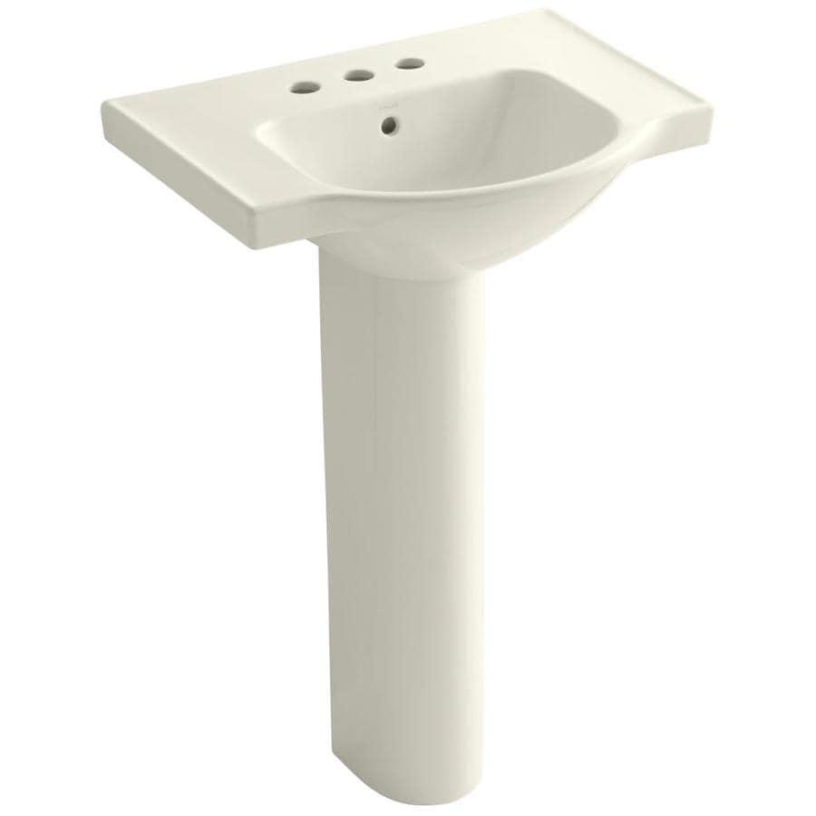 KOHLER Veer 35.5-in H Biscuit Vitreous China Pedestal Sink