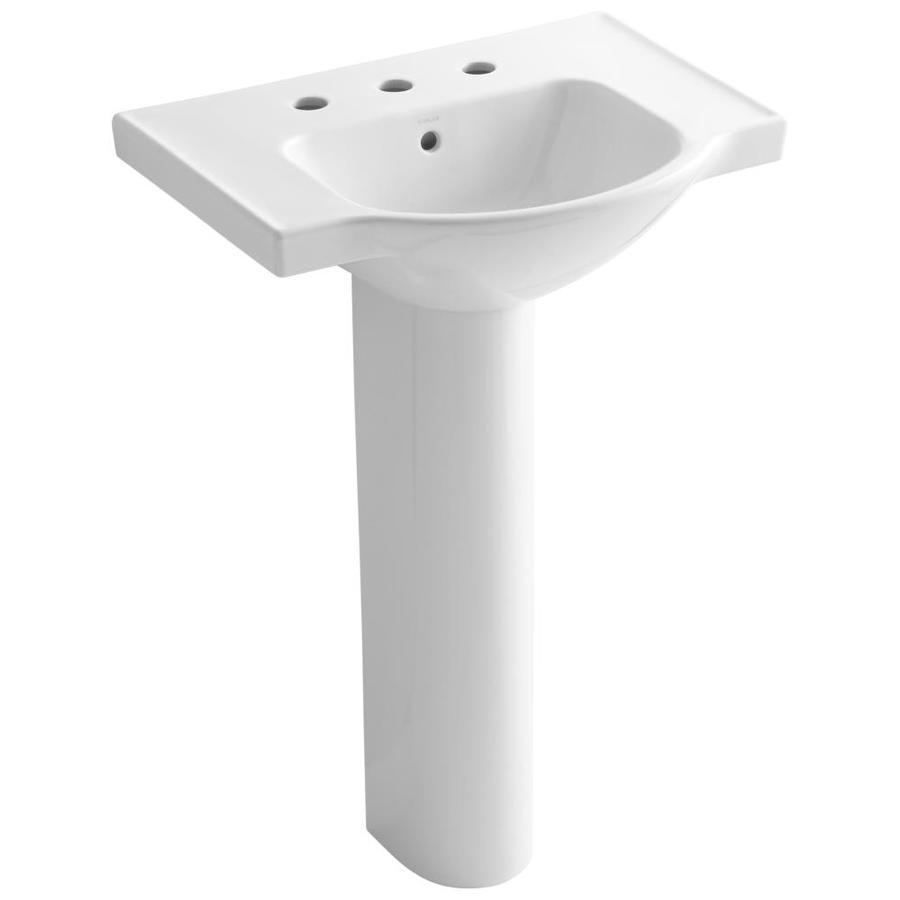 KOHLER Veer 35.5-in H White Vitreous China Pedestal Sink