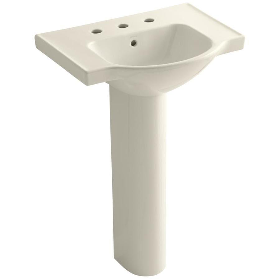 KOHLER Veer 35.5-in H Almond Vitreous China Pedestal Sink