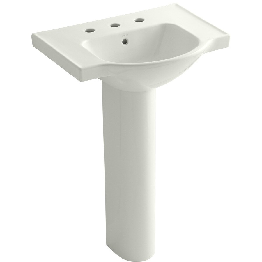 KOHLER Veer 35.5-in H Dune Vitreous China Pedestal Sink