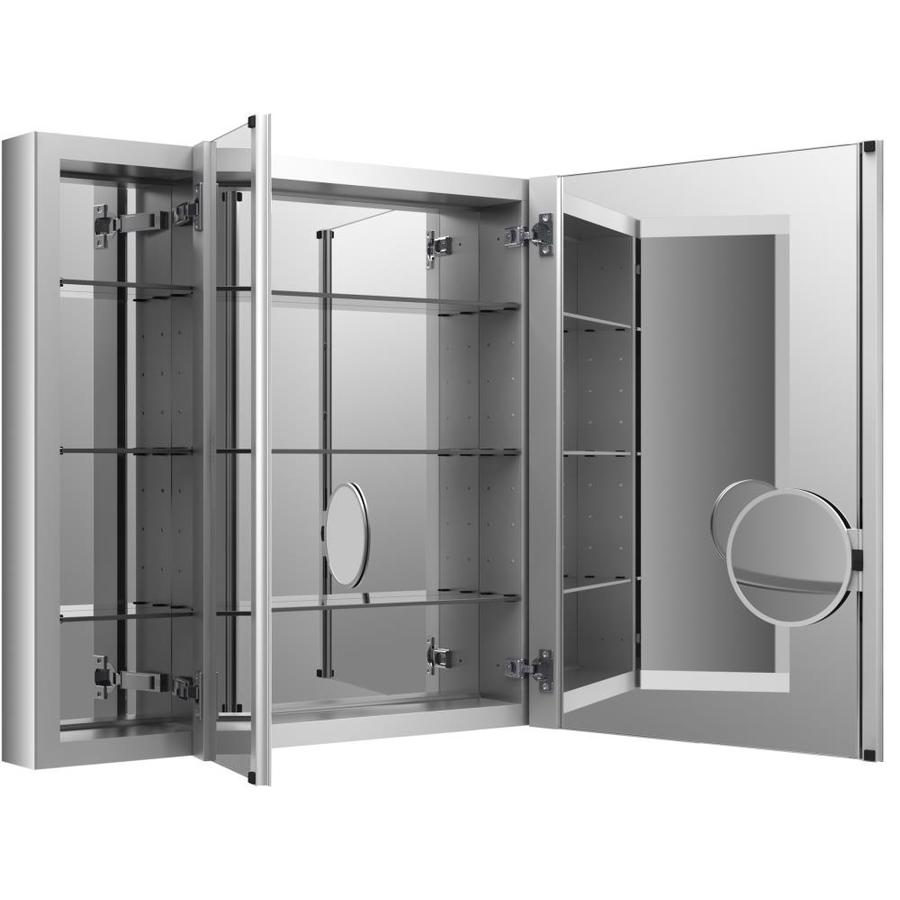 Recessed Bathroom Medicine Cabinets KOHLER Verdera 40-in x 30-in Rectangle Surface-Recessed Mirrored Aluminum  Medicine