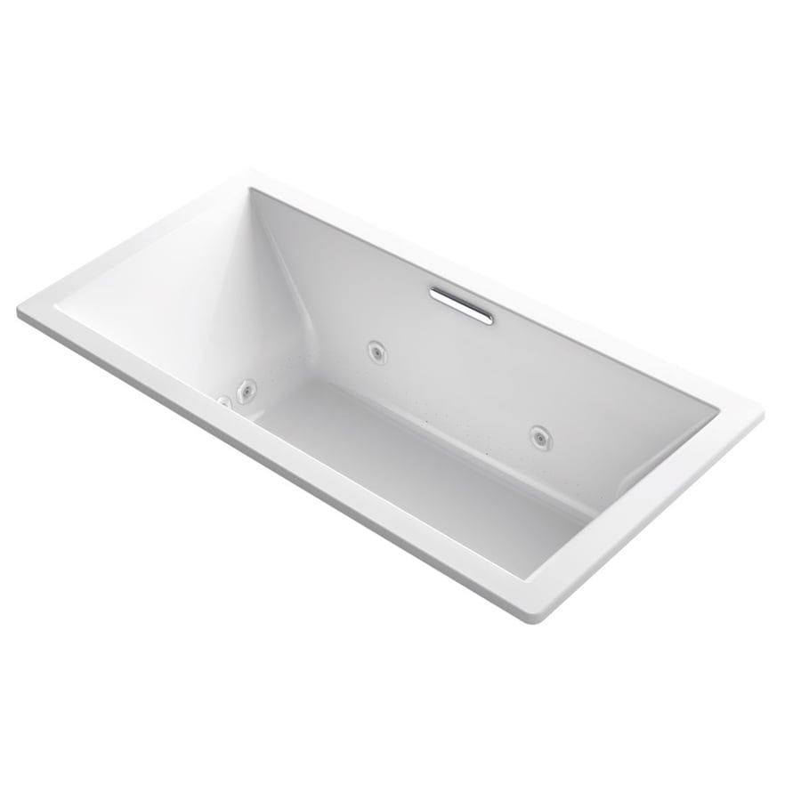 KOHLER Underscore 72-in L x 36-in W x 23-in H White Acrylic Rectangular Drop-in Air Bath
