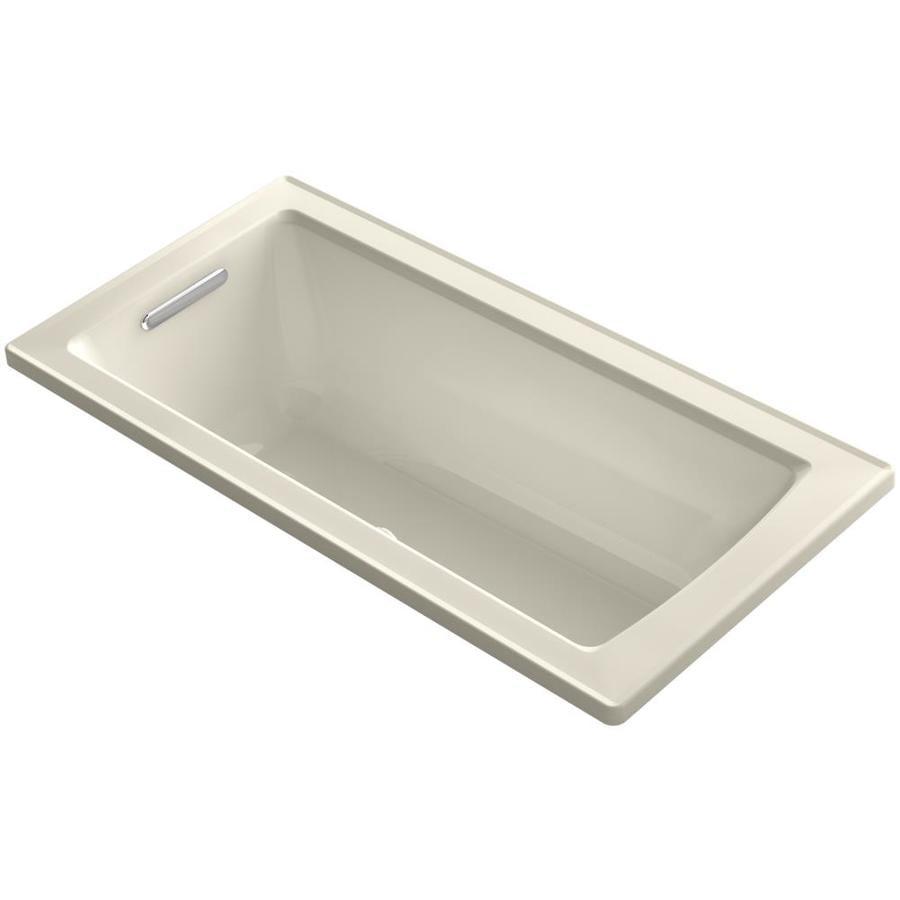 KOHLER Archer 60.0-in L x 30.0-in W x 19.0-in H Almond Acrylic Rectangular Alcove Air Bath