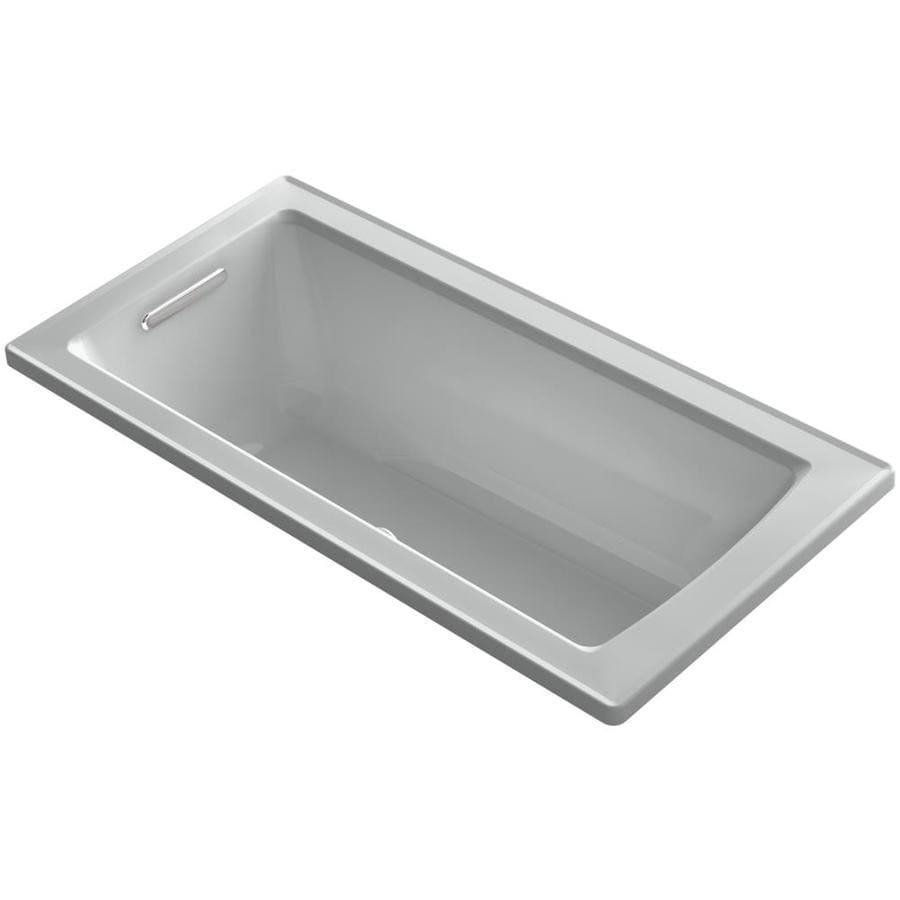 KOHLER Archer 60-in Ice Grey Acrylic Alcove Air Bath with Left-Hand Drain