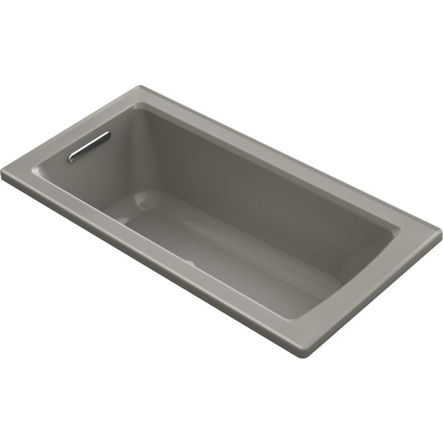 KOHLER Archer 60-in Cashmere Acrylic Alcove Air Bath with Left-Hand Drain