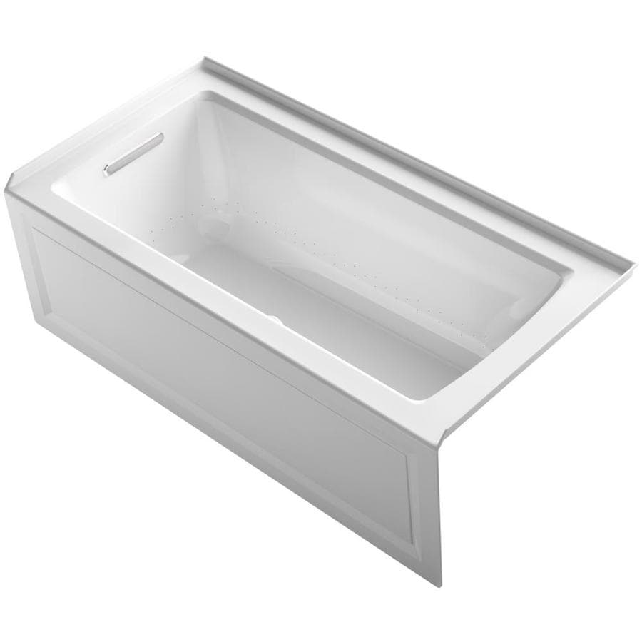 KOHLER Archer 60-in White Acrylic Alcove Air Bath with Right-Hand Drain