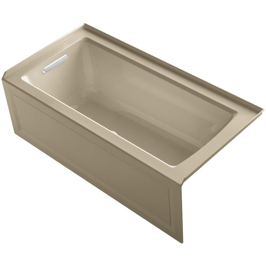 KOHLER Archer 60-in Mexican Sand Acrylic Alcove Air Bath with Right-Hand Drain