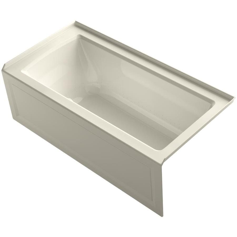 KOHLER Underscore 60-in Almond Acrylic Drop-In Air Bath with Reversible Drain