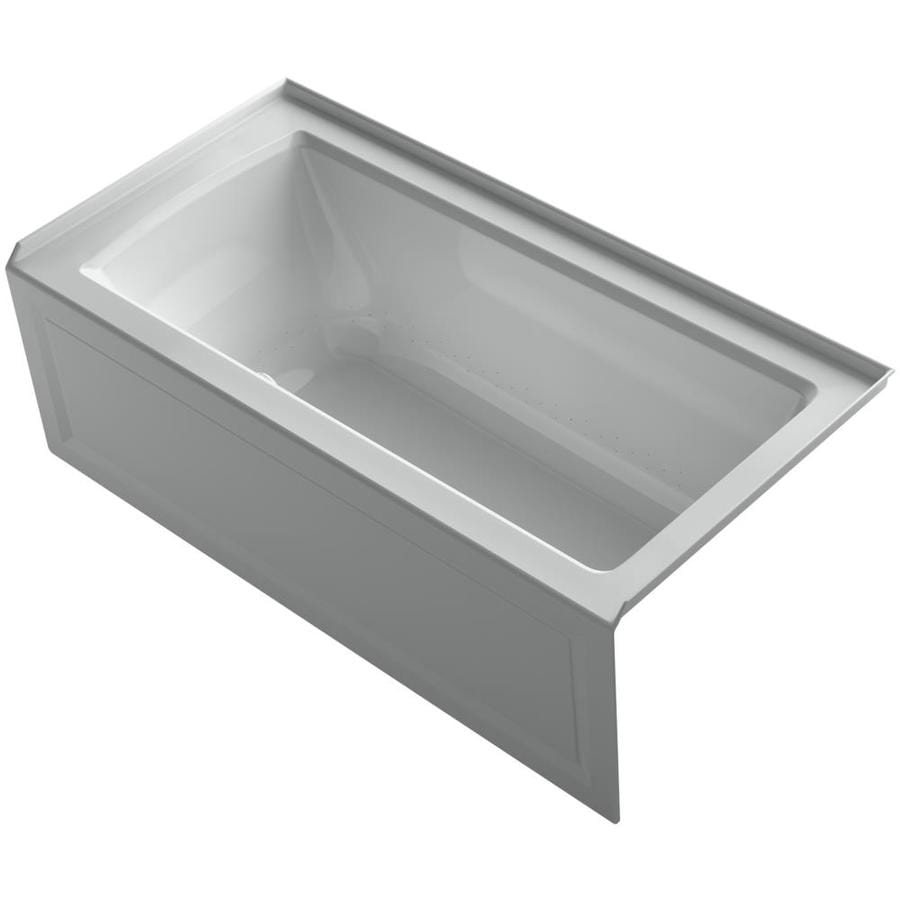 KOHLER Underscore 60-in Ice Grey Acrylic Drop-In Air Bath with Reversible Drain