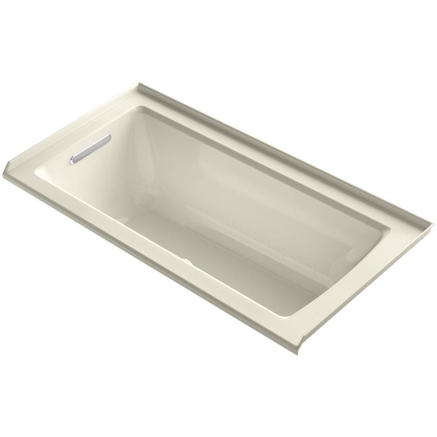 KOHLER Underscore 60-in L x 30-in W x 19-in H Almond Acrylic Rectangular Alcove Air Bath
