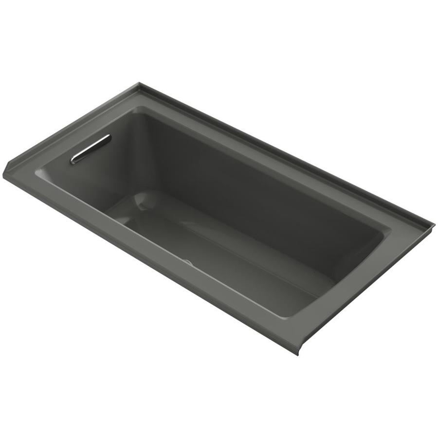 KOHLER Underscore 60-in L x 30-in W x 19-in H Thunder Grey Acrylic Rectangular Alcove Air Bath