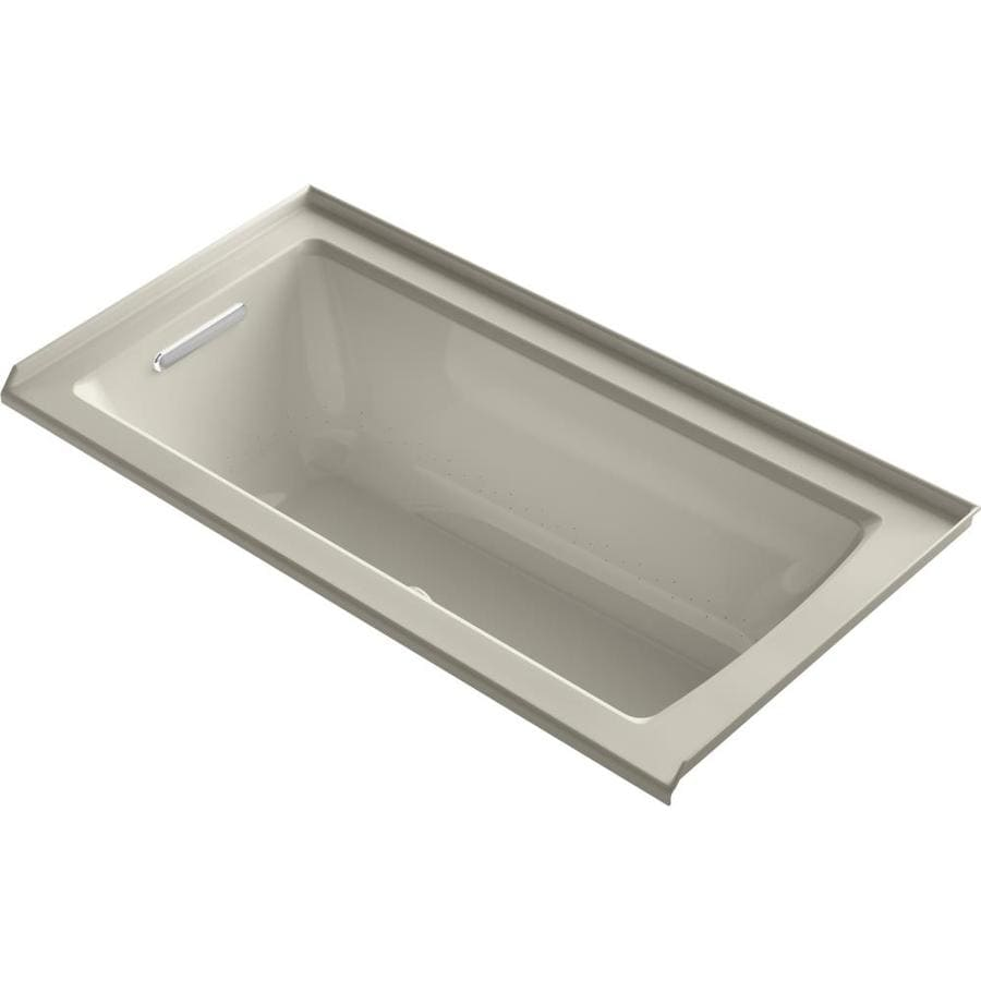 KOHLER Underscore 60-in Sandbar Acrylic Alcove Air Bath with Left-Hand Drain