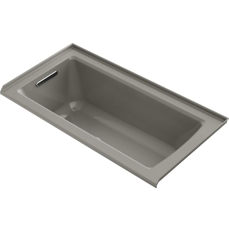 KOHLER Underscore 60-in Cashmere Acrylic Alcove Air Bath with Left-Hand Drain