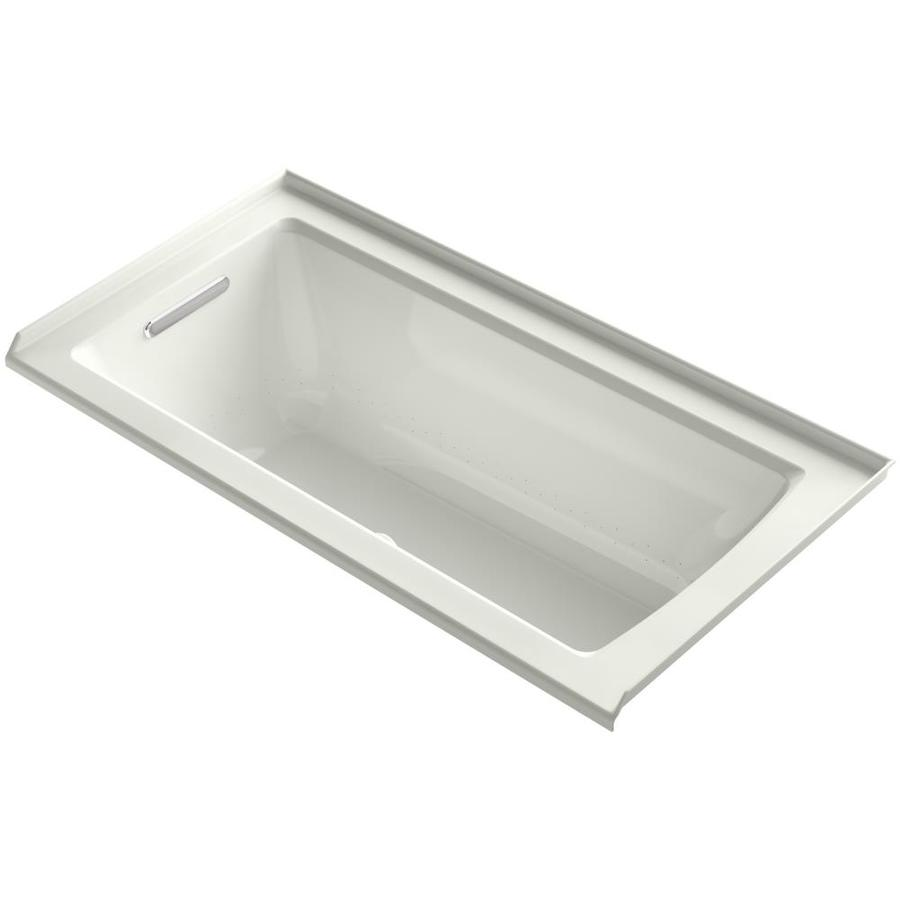 KOHLER Underscore 60-in Dune Acrylic Alcove Air Bath with Left-Hand Drain