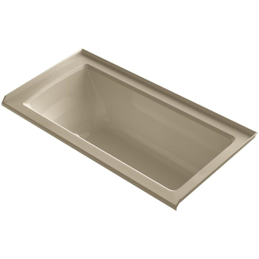 KOHLER Underscore 60-in Mexican Sand Acrylic Alcove Air Bath with Left-Hand Drain
