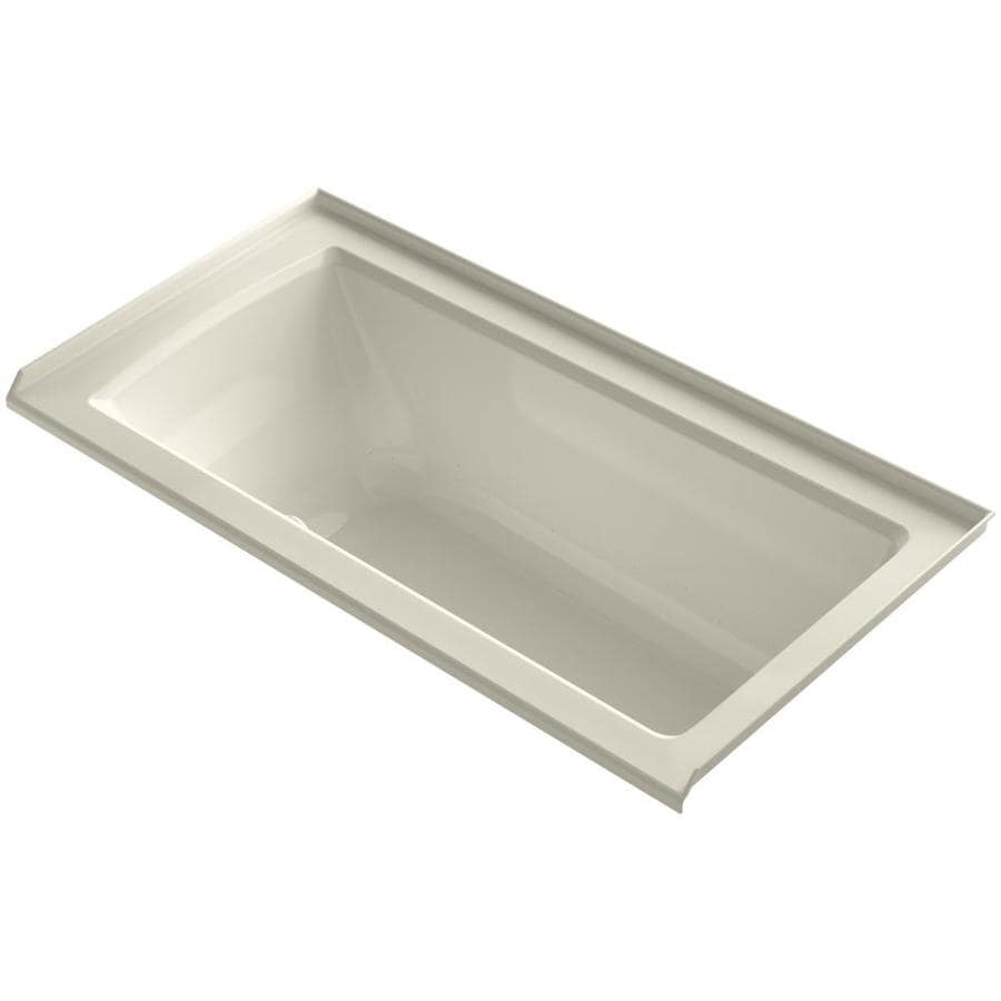 KOHLER Underscore 60-in Almond Acrylic Alcove Air Bath with Left-Hand Drain