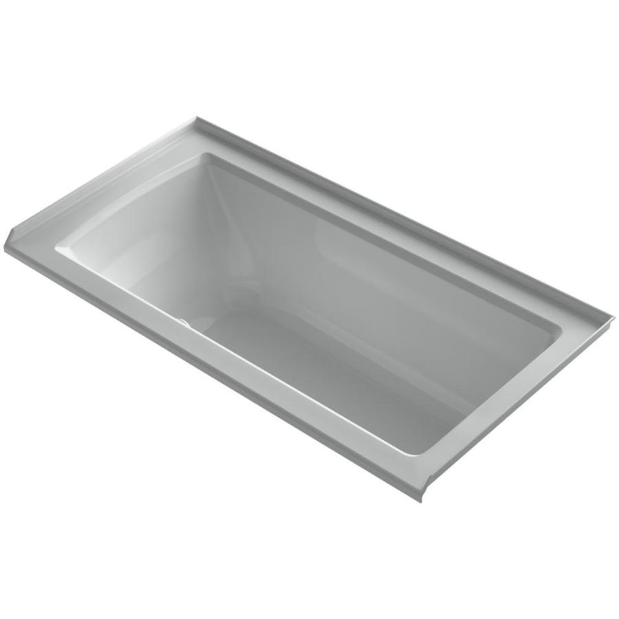 KOHLER Underscore 60-in Ice Grey Acrylic Alcove Air Bath with Right-Hand Drain