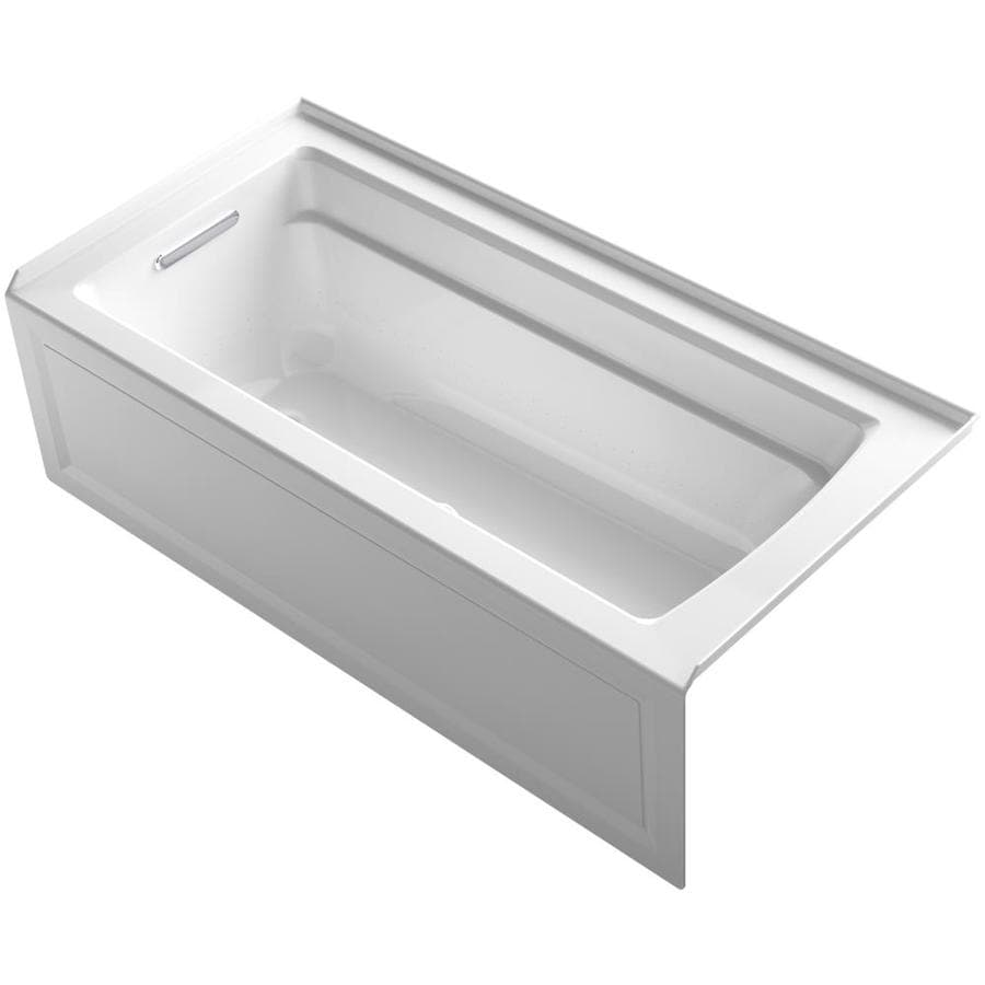 KOHLER Archer 66-in White Acrylic Alcove Air Bath with Left-Hand Drain